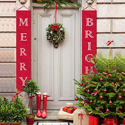 Apartment Christmas Decorations Indoor.Mordun Christmas Decorations Outdoor Indoor Merry Bright Porch Sign Red Xmas Decor Banners For Home Wall Door Apartment Party