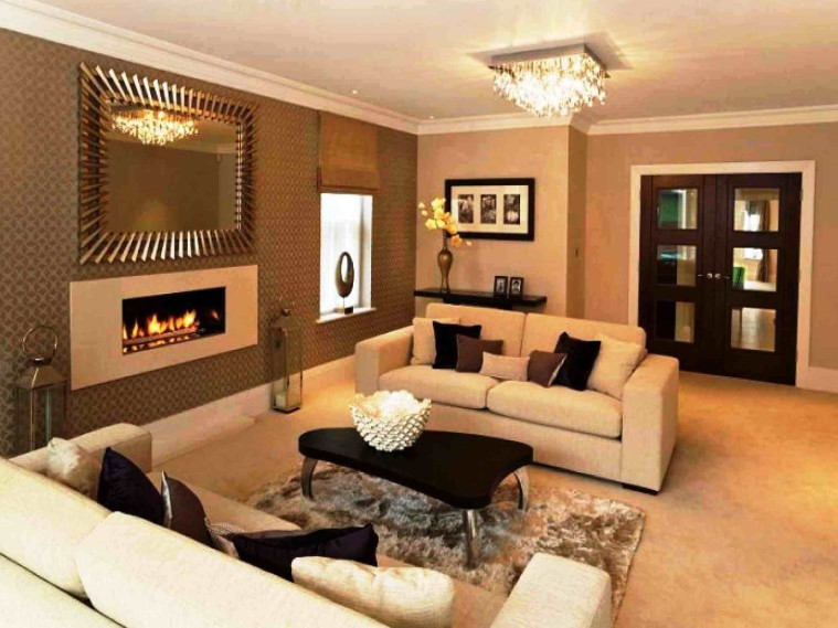 Combination of chocolate and cream living room paint