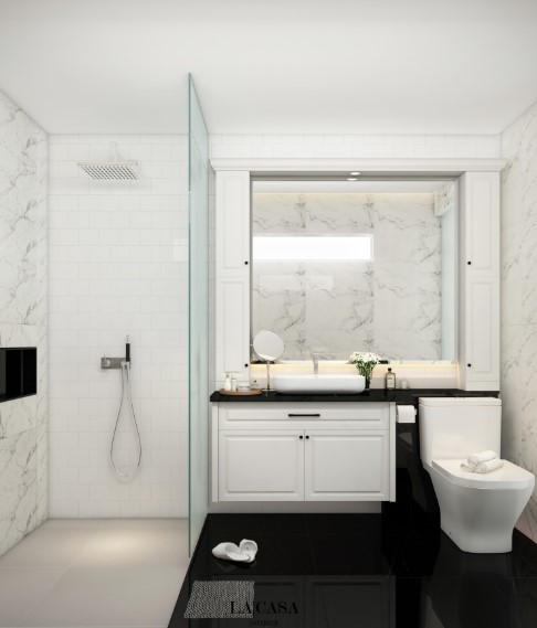 Design of a Small Bathroom with a Large Mirror