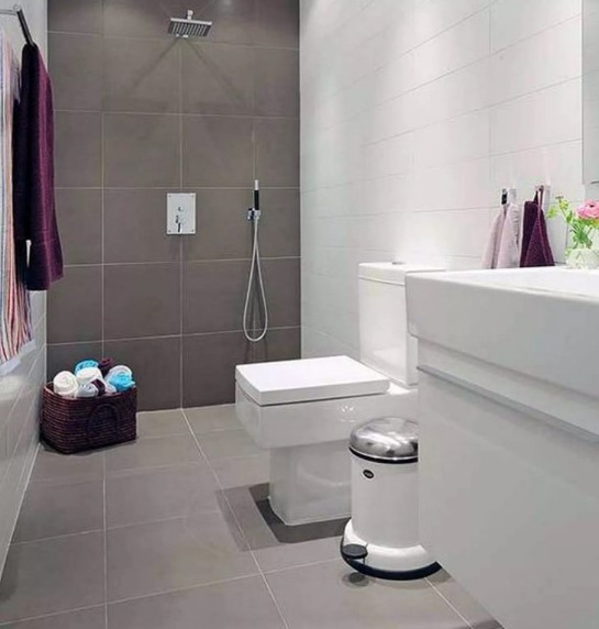 Small Bathroom Design with Solid Color