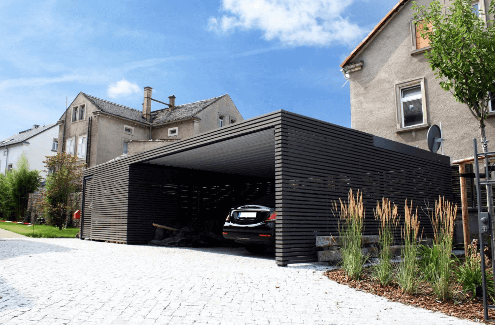 Black all-out minimalist garage