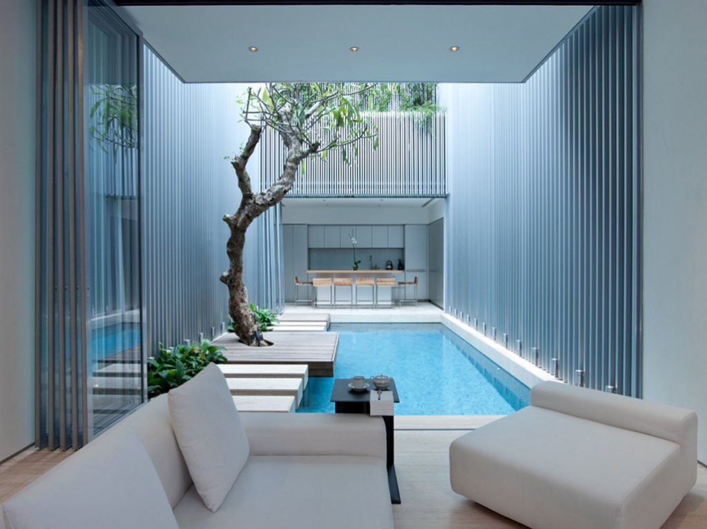 Indoor courtyard swimming pool design