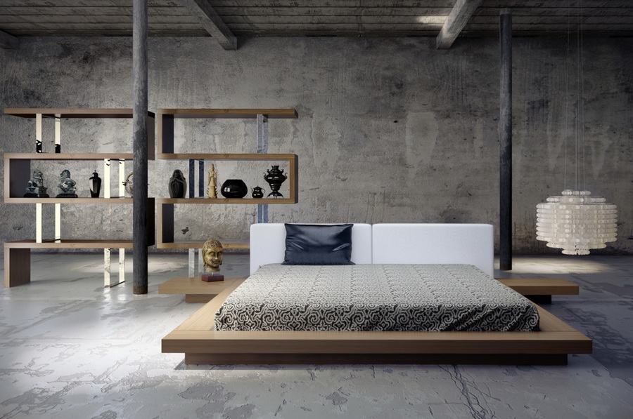 Industrial bedroom with a minimalist impression