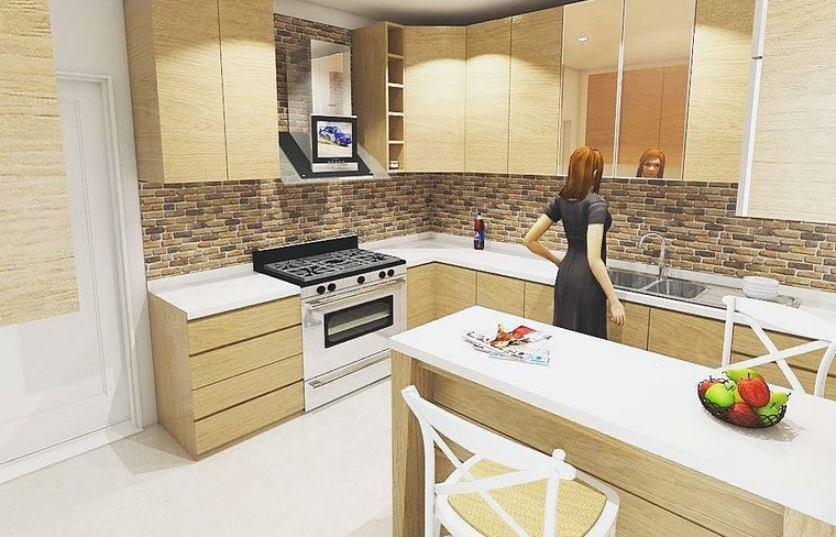 Minimalist Teak Kitchen Set Kitchen Design
