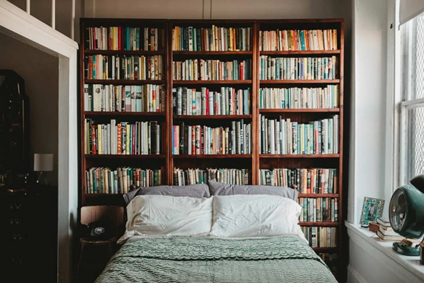 Unique bedroom design with bookshelves