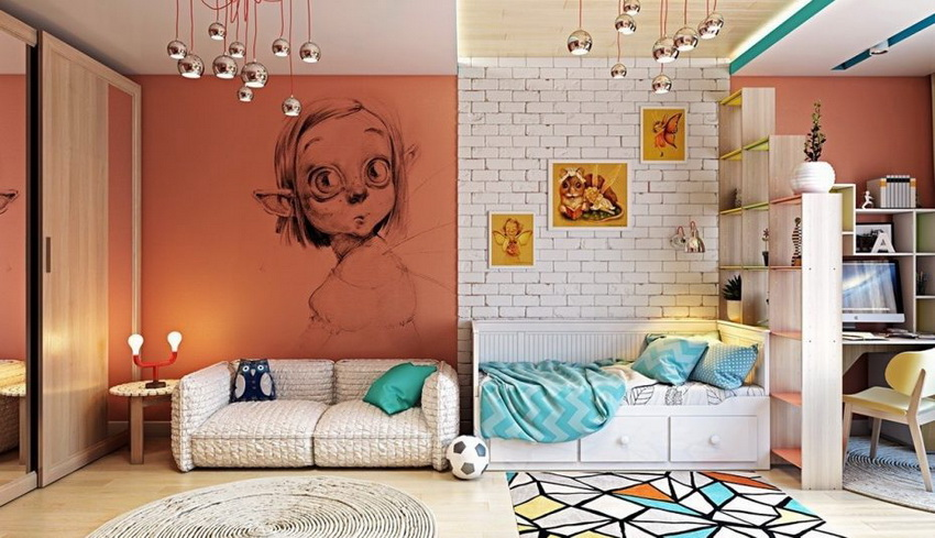 Unique bedroom design with murals