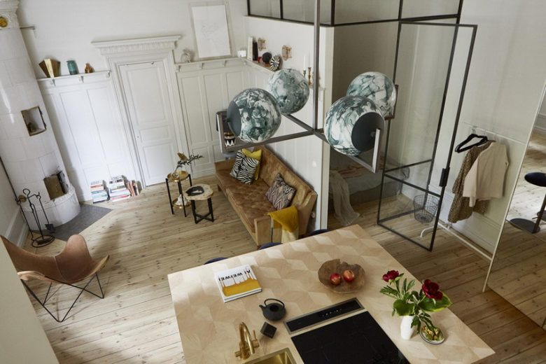 Design studio type studio apartment in medieval style