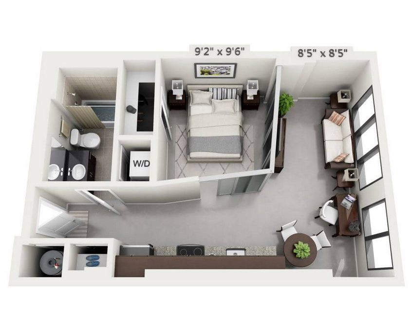 Elongated studio apartment layout