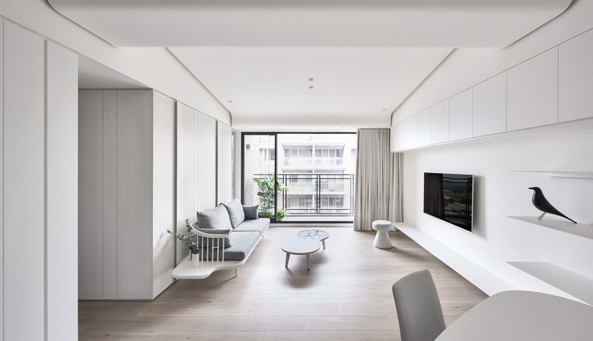 Modern minimalist home interior all in white