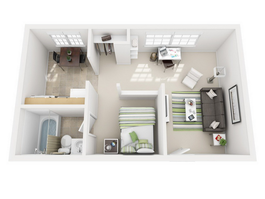Studio apartment layout with high privacy