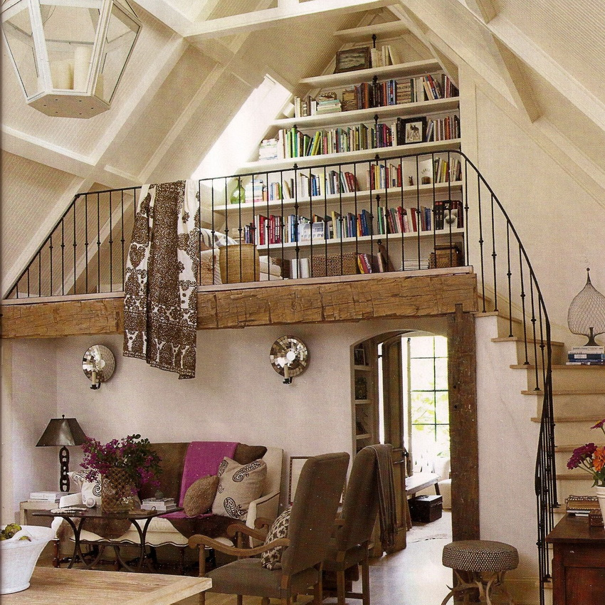 mezzanine floor as a mini library room at home