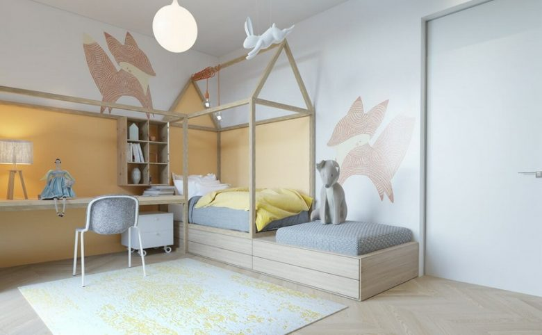 minimalist children's room with fox wall stickers