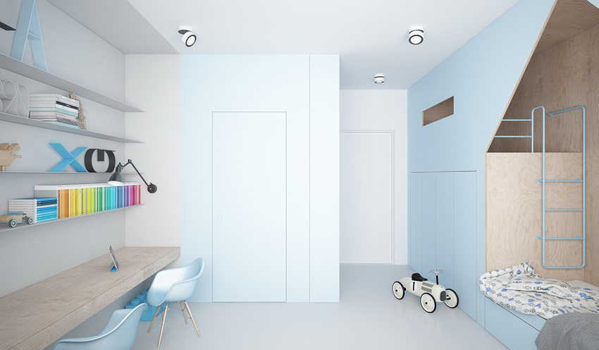 minimalist children's room with light blue on the wall