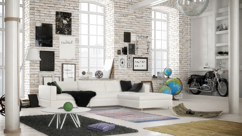 white brick in a monochrome room