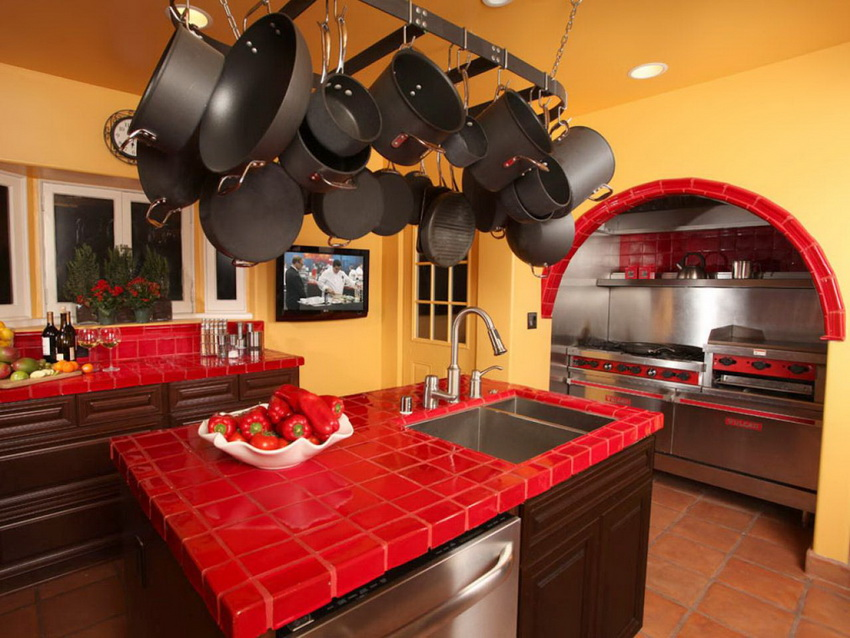 A bold red kitchen