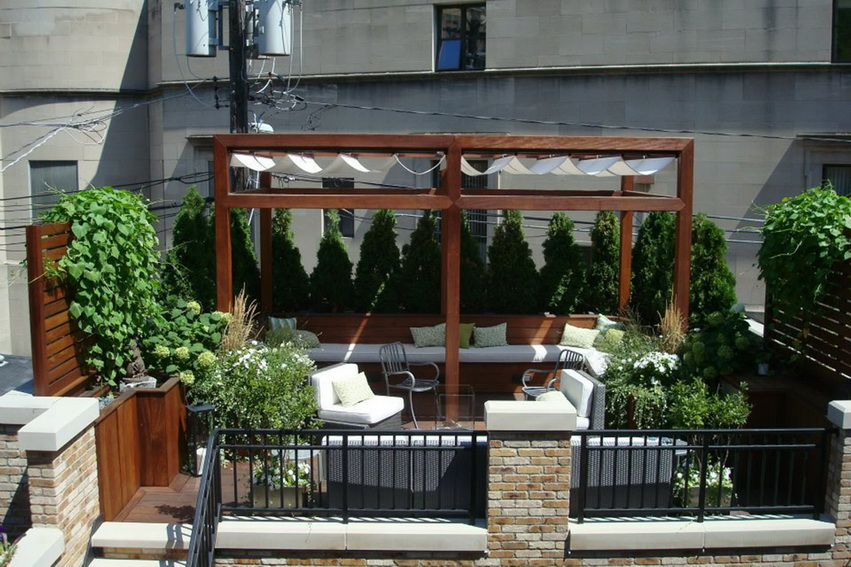 Wooden Canopy with Fabric