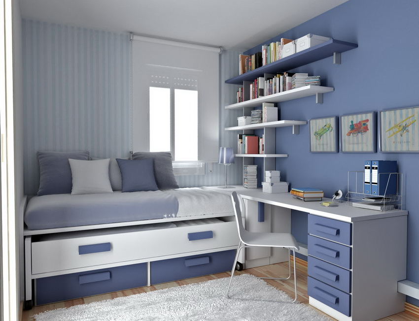 small bedroom design with multifunctional furniture