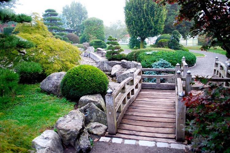 Japanese garden with a wooden bridge