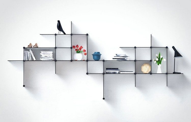 Shelves with a thin frame