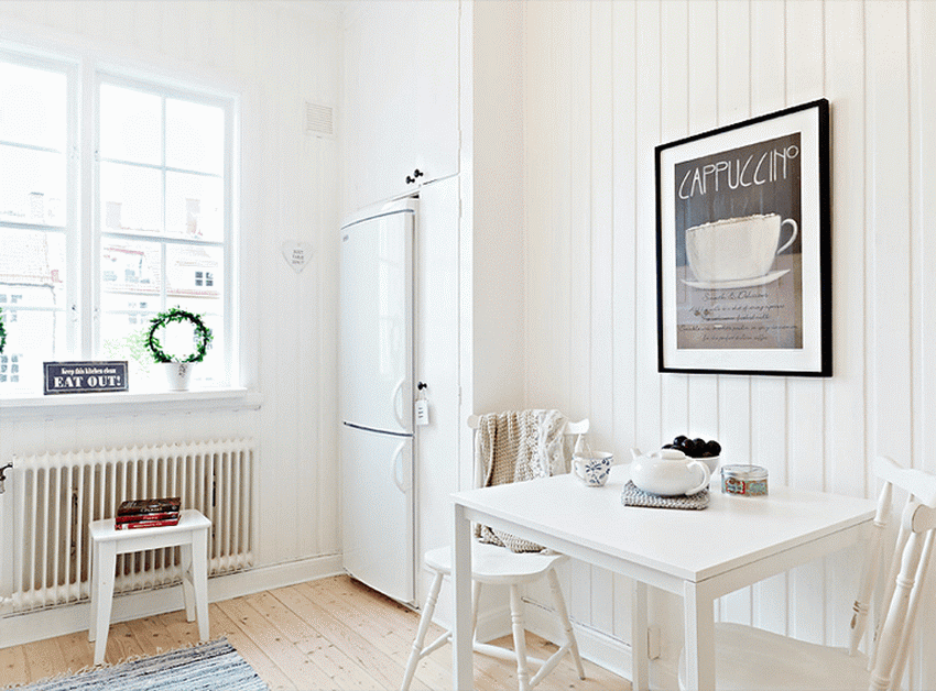 Simple Dining Room with All-White Concept