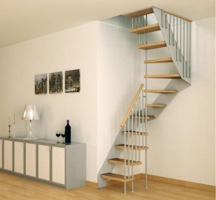 right-angled, narrow staircase