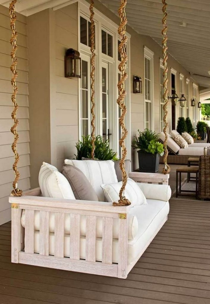 Front porch design with swing chair
