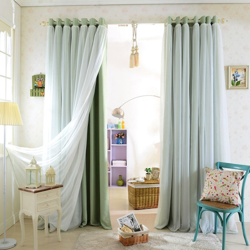 Home curtains with a combination of 2 colors
