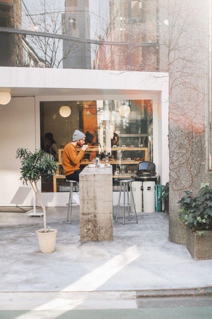 Industrial-style outdoor cafe design