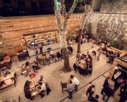 Outdoor cafe design with decorative lights