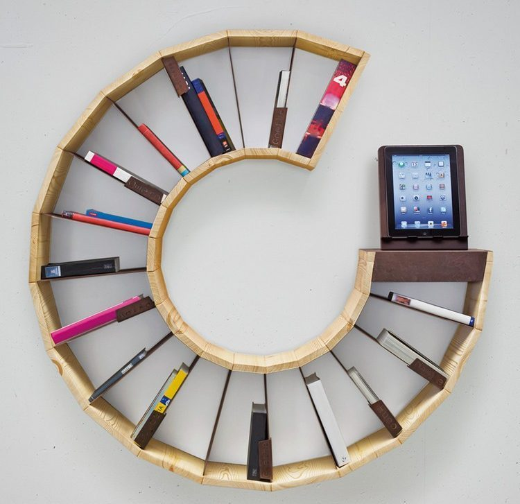Unique bookcase in the form of letter C
