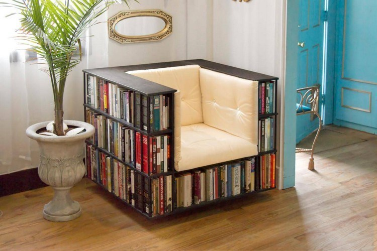 Unique bookshelves as well as chairs