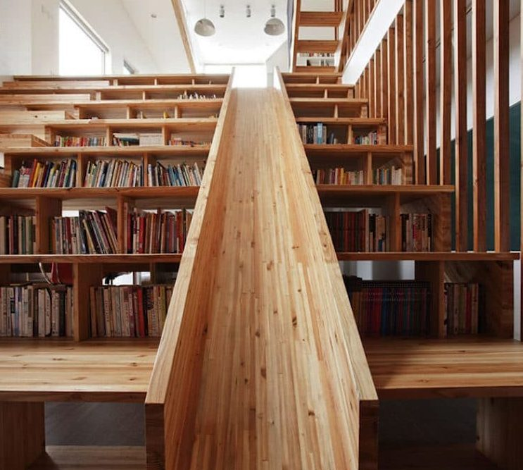 Unique bookshelves as well as stairs