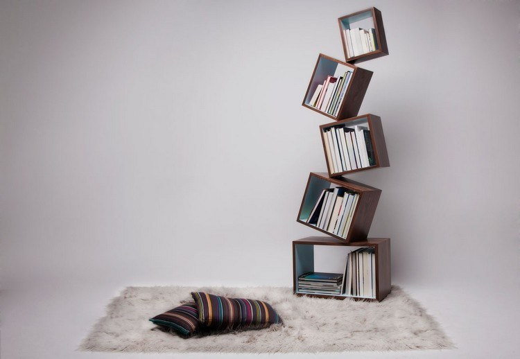 Unique bookshelves from stacked cubes