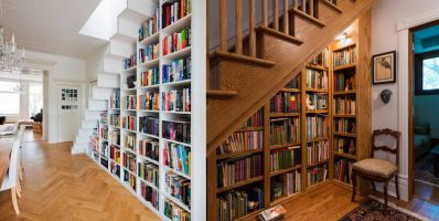 Unique bookshelves under the stairs