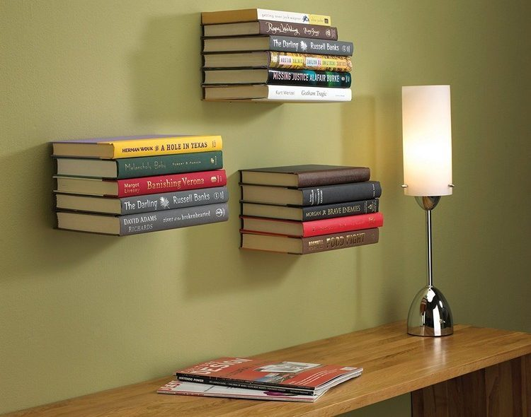 Unique floating bookshelves