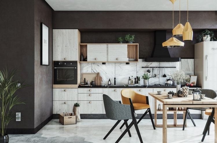 Variety of textures for a simple minimalist kitchen