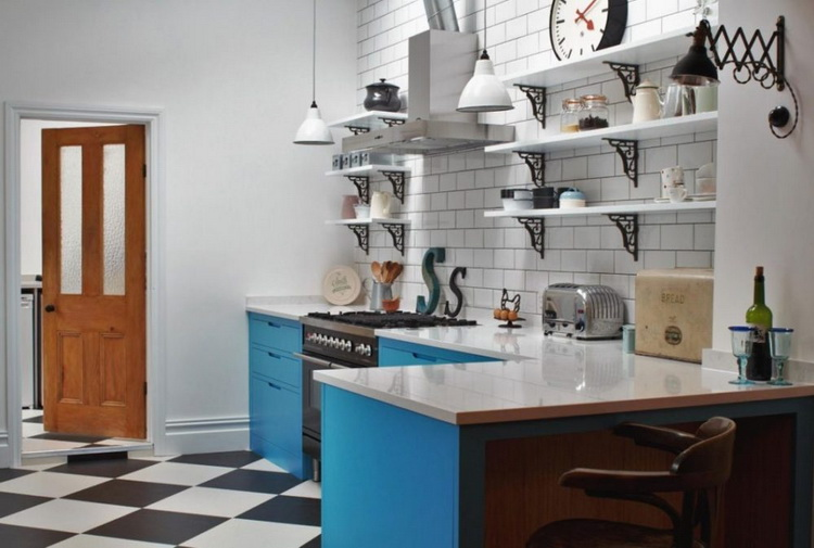 simple minimalist kitchen designs with combination of ceramic motifs