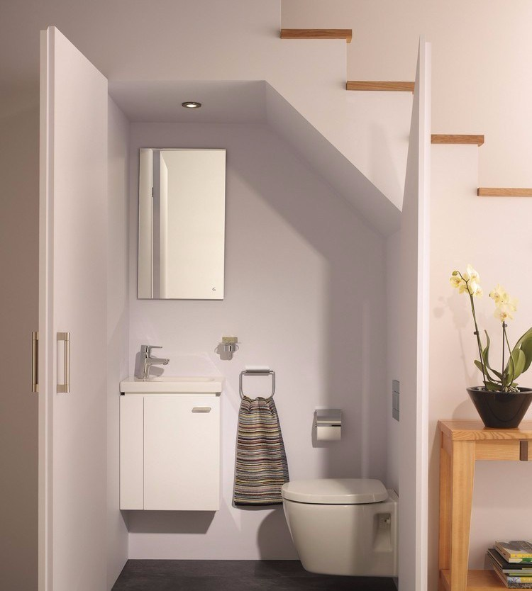 Bathroom under The Stairs in Minimalist Style