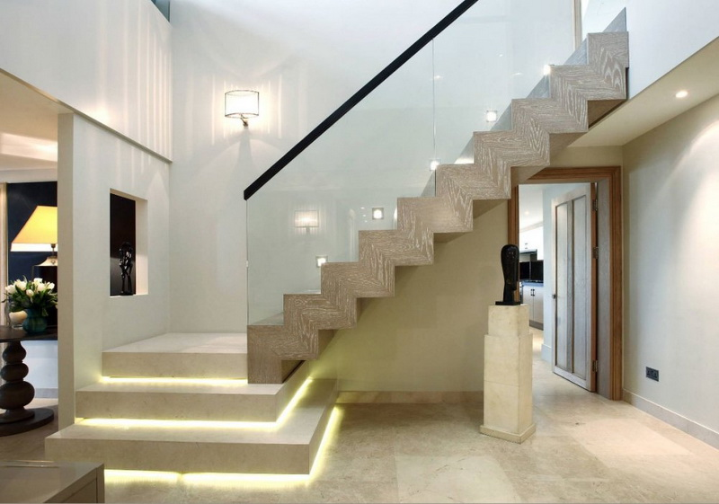 Lighted White Stair Design