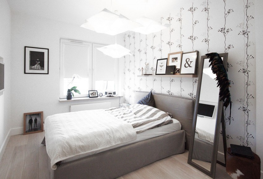 Minimalist bedroom design with wallpaper