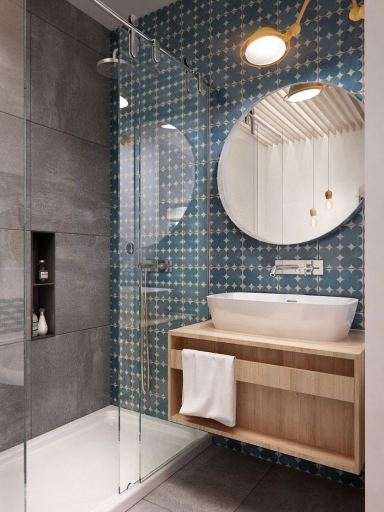 Artistic Bathroom Interior with Color Ceramics