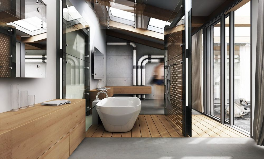 Bathroom Interior Industrialist Concept