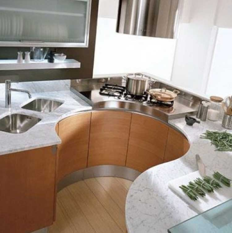 Kitchen with Curved Kitchen Set
