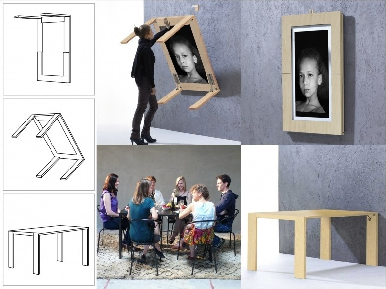 Portable table as well as a picture frame