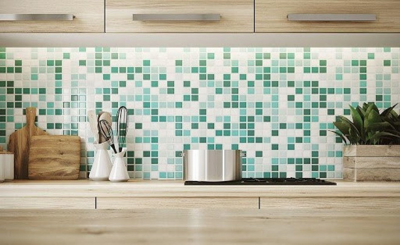 Minimalist Kitchen Ceramic Green Mosaic
