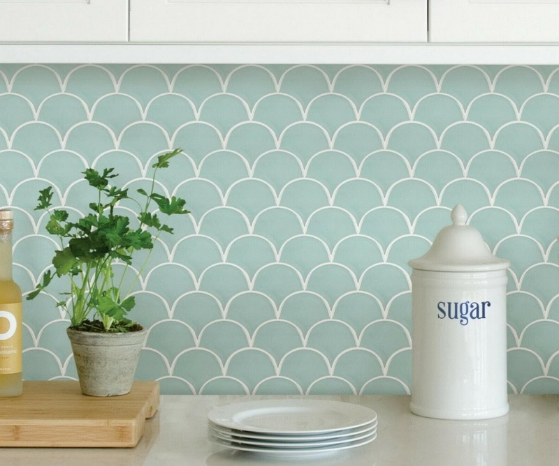 Mermaid Scales Motives Minimalist Kitchen Ceramic