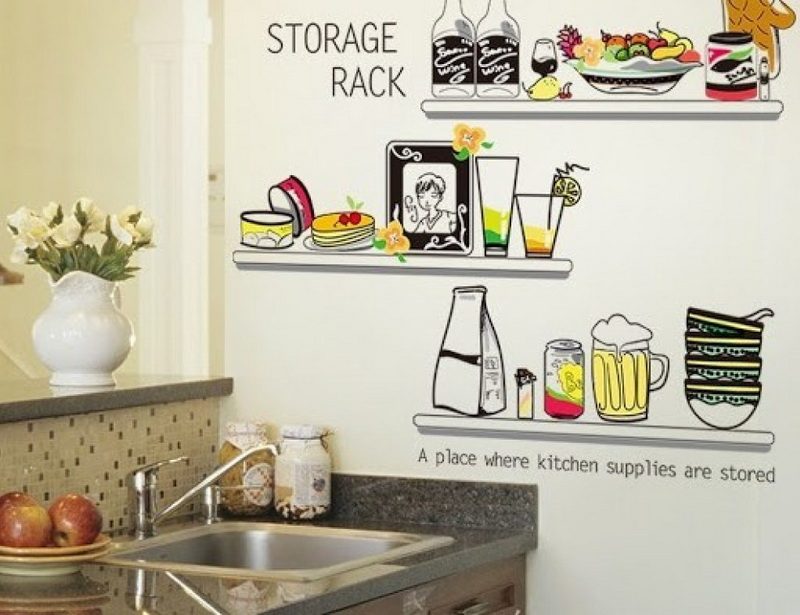 Simple and Cheap Kitchen Design with Motif Wall Stickers