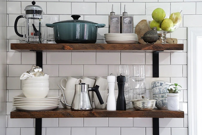 Simple and Cheap Kitchen Design with Wall Shelf