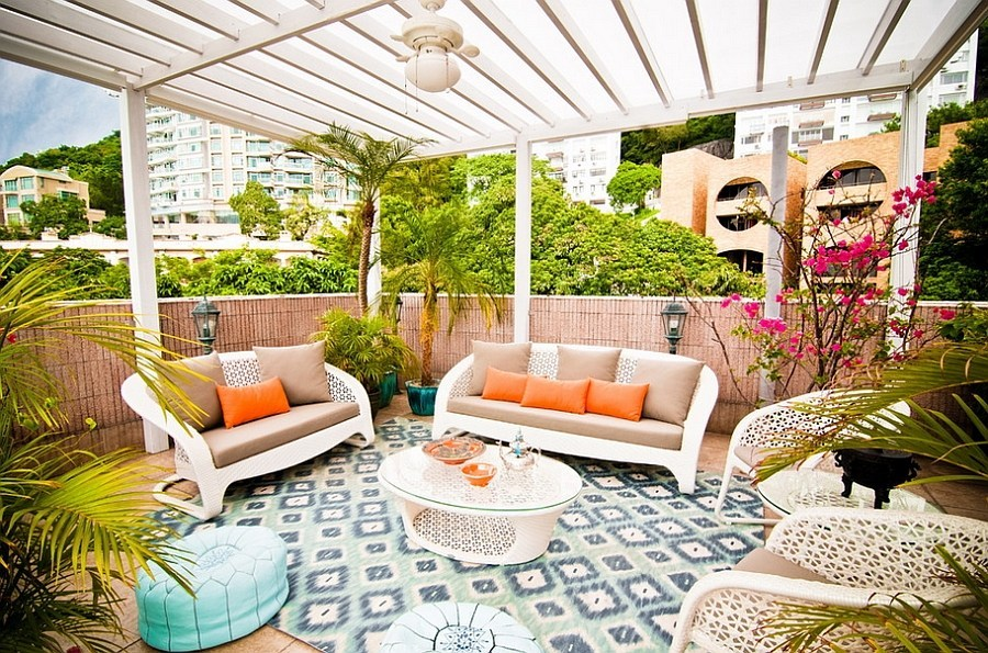 Moroccan style terrace with canopy