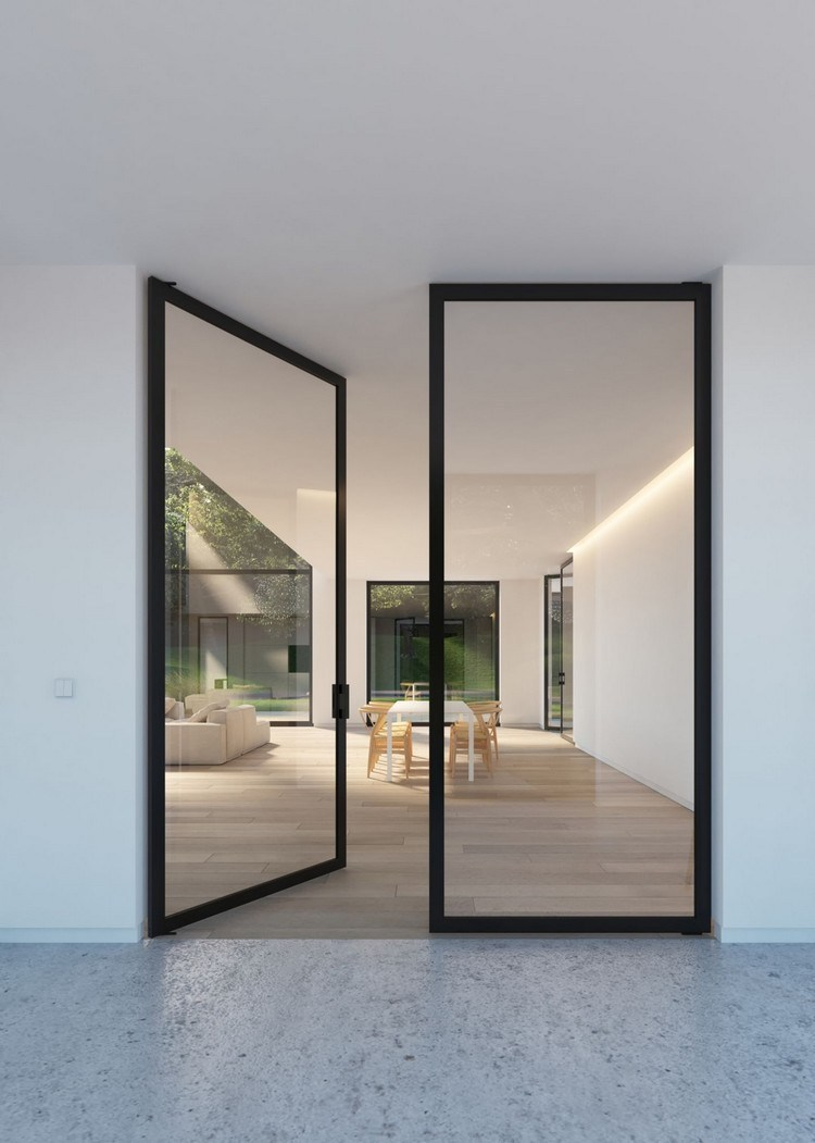 residential design with glass door frames